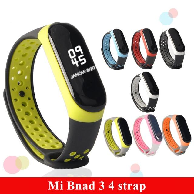 Mi Band 3 4 Correa deporte silicona reloj pulsera mi band3 Correa accesorios pulsera inteligente para Xiaomi mi band 3 4 Correa