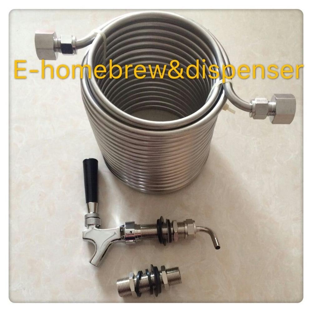 15m de largo de doble capa de grado alimenticio 304 de acero inoxidable Wort Chiller / serpentín de enfriamiento + Grifo de cerveza de vástago largo / grifo + vástago de 80 mm
