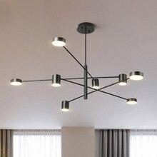Современный светодиодный подвесной светильник в скандинавском стиле для столовой, кухни, подвесной светильник, большой светильник, черный, белый, золотой