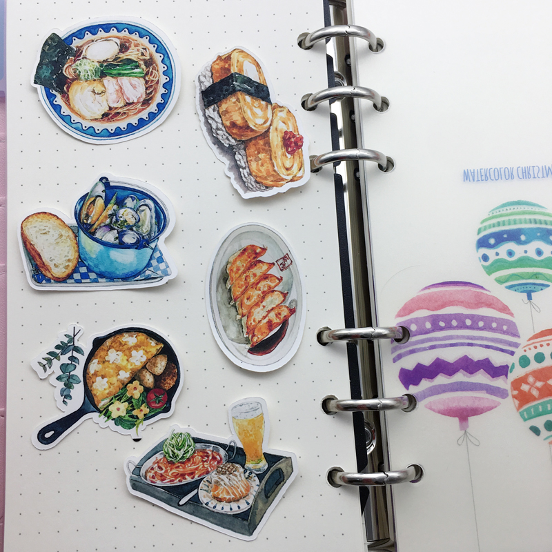 Купить с кэшбэком 35pcs water color Japanese Sushi sticker Planner Scrapbooking DIY Dry Glue Sticker