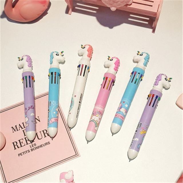10 In 1 Colorful Kawaii Cartoon Dream Unicorn Ballpoint Pen Lovely Animal Multicolor Writing Ball Pens School 1