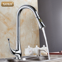 XOXO Free Shipping New design pull out faucet chrome swivel kitchen sink Mixer tap kitchen faucet vanity faucet 83019