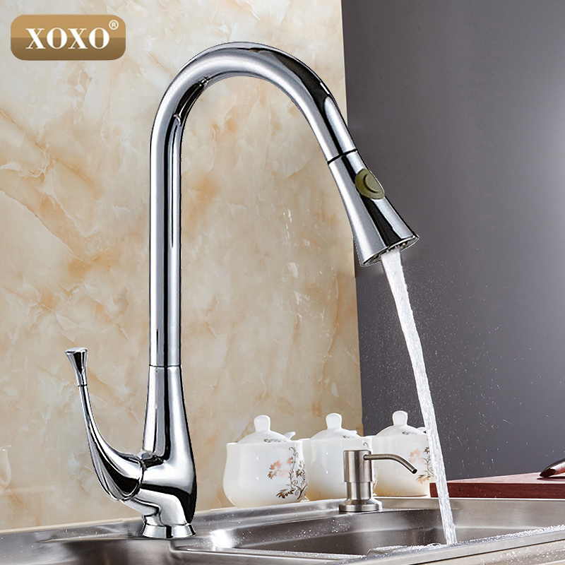 Free Shipping New Design Pull Out Faucet Chrome Swivel Kitchen Sink Mixer Tap Kitchen Faucet Vanity