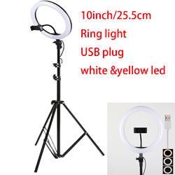 10 дюймов 25 см USB зарядка Новый селфи кольцо светодиодной вспышкой светодио дный телефон фотографии улучшение фотографии для смартфонов Studio