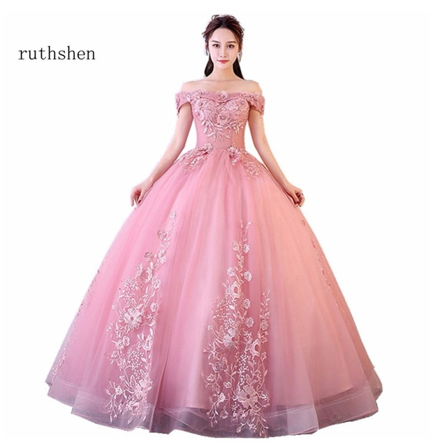 ruthshen Off The Shoulder Vestidos De Gala Largos Long Prom Dresses Appliques Flowers Evening Dresses Luxury Robes De Soiree
