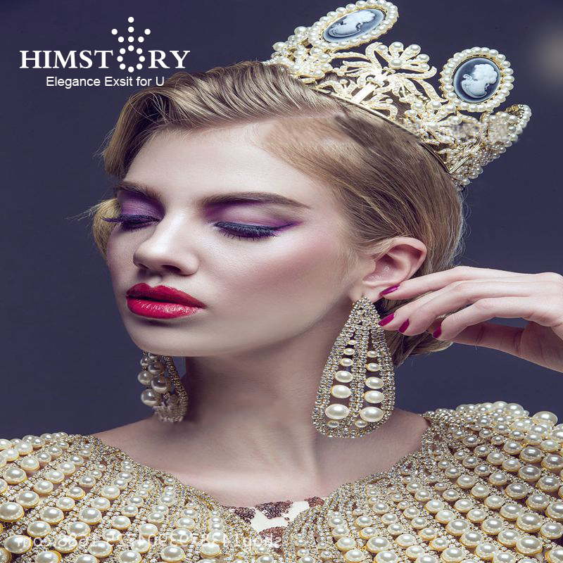 HIMSTORY Luxury Baroque Vintage Women Full Round Prom Pearl  Wedding Pageant Queen Tiara Hairwear