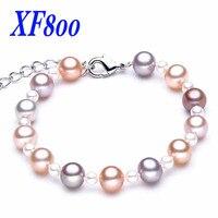 Cor da mistura charme pulseira de pérolas naturais, 8-9 de água doce perto rodada pérola jóias, fina pulseira para mulheres S03