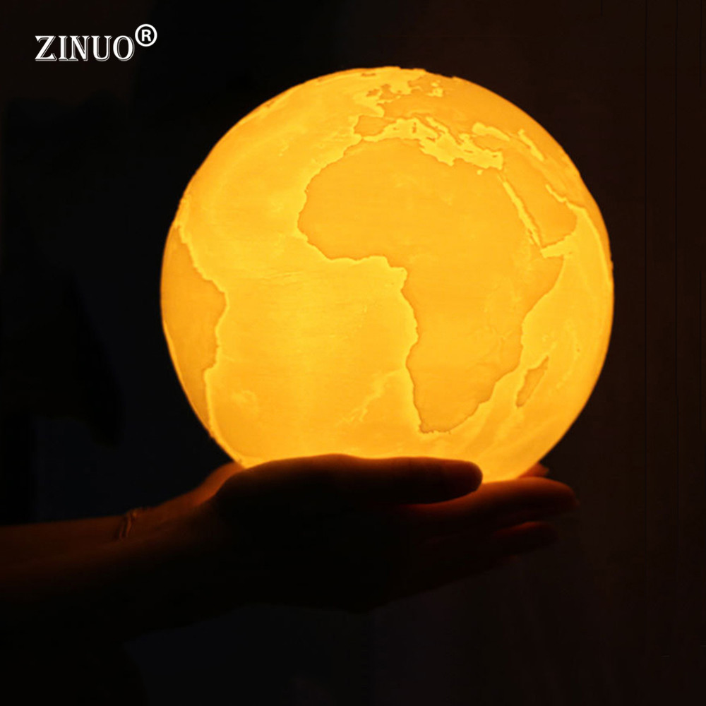 ZINUO Rechargeable 3D Moon Lamp 2 Color Change 3D Earth Light Touch Switch 3D Print Lamp Bedroom Earth Night Light Creative Gift 3d лампа 3d lamp акула