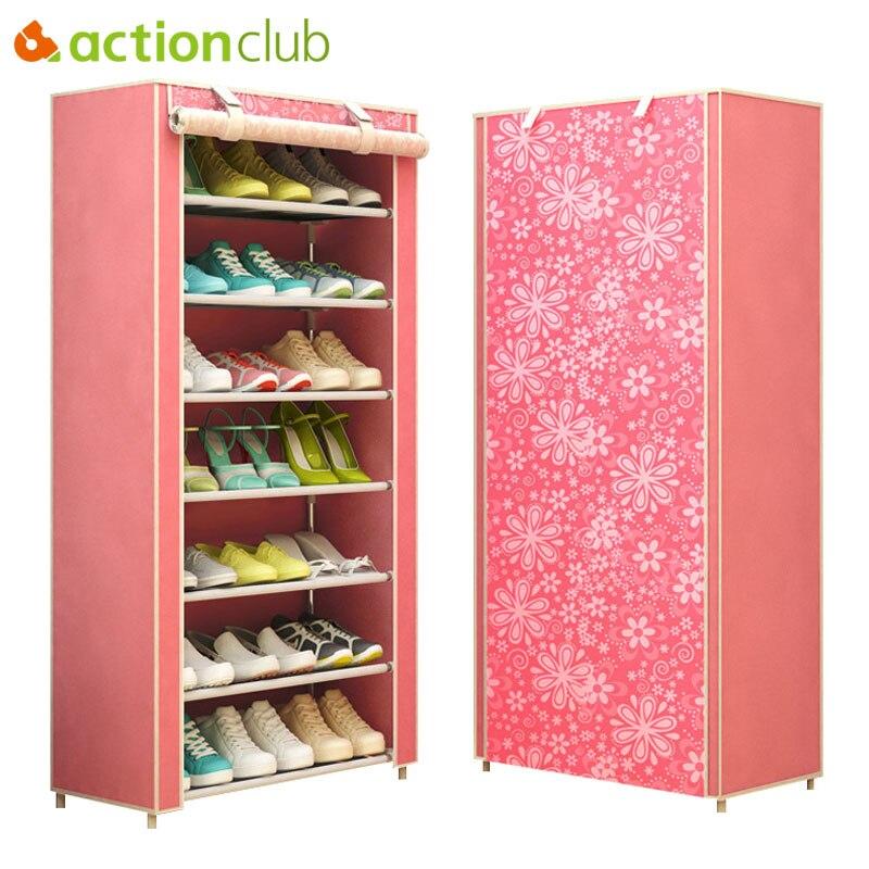 Actionclub Modern Minimalist Thicken Non-woven Dustproof Shoe Cabinet Creative Combination DIY Assembly Shoe Shelves Storage