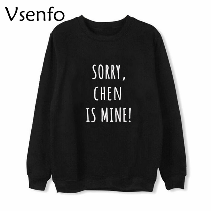 Vsenfo EXO Members K-Pop Sweatshirt Men Women Letters Printed BAEKHYUN CHANYEOL CHEN DO KAI LAY SEHUN Hoodies Streetwear
