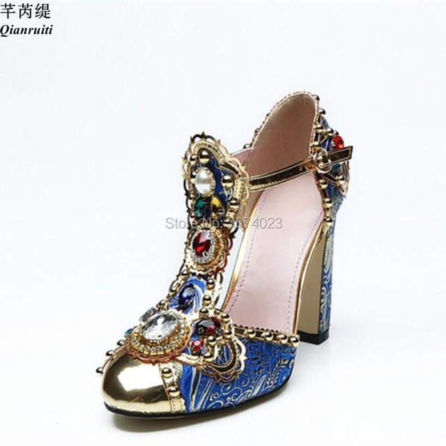 3bf3dee31f9eb placeholder Qianruiti Mujer Runway Diamonds Sandals T-strap Block High  Heels Gold Toe Luxury Jeweled Shoes