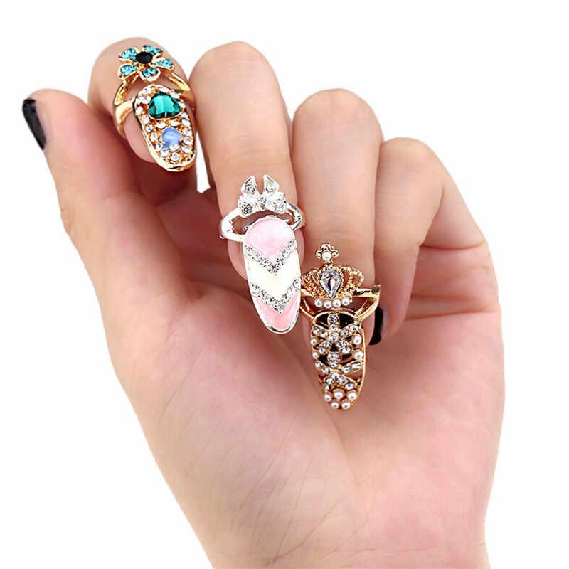 Nœud papillon anneau à ongles charme couronne fleur cristal doigt ongles anneaux pour femmes dame strass ongle protecteur mode bijoux