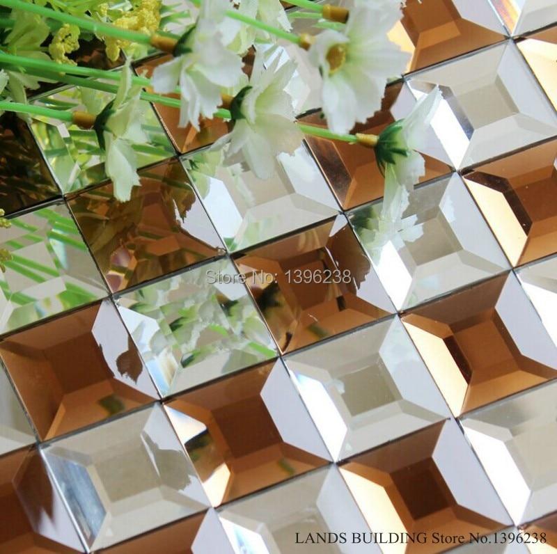 Splendid kitchen wall sticker 3D Diamond Mirror Crystal Glass DIY Mosaic Art tile,Waistline background meshback wallpaper,LSMR14 цена и фото