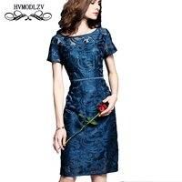 HVMODLZV большой размер высокое качество кружевное летнее платье Vestidos 2018 Новая мода с короткими рукавами кружевное платье топ тонкие платья LJ512