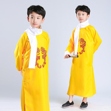 Chinese Traditional Folk Crosstalk Gown Boys Long Robe for Children Tang Suit Hanfu Ancient Costume Stage Wear Performance 2017 summer baby chinese folk costume girls children shorts hanfu clothes boys infant chinese traditional costume top pants tang