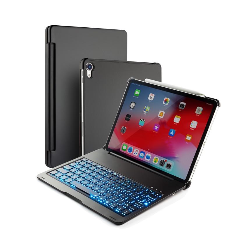 """שליכט אקרילי [חדש] מקרה מקלדת Bluetooth עבור אפל iPad Pro 11.1"""" , 7-צבע backlit מקלדת אלומיניום מתכת אלחוטי עם חכם מקרה קשה (1)"""