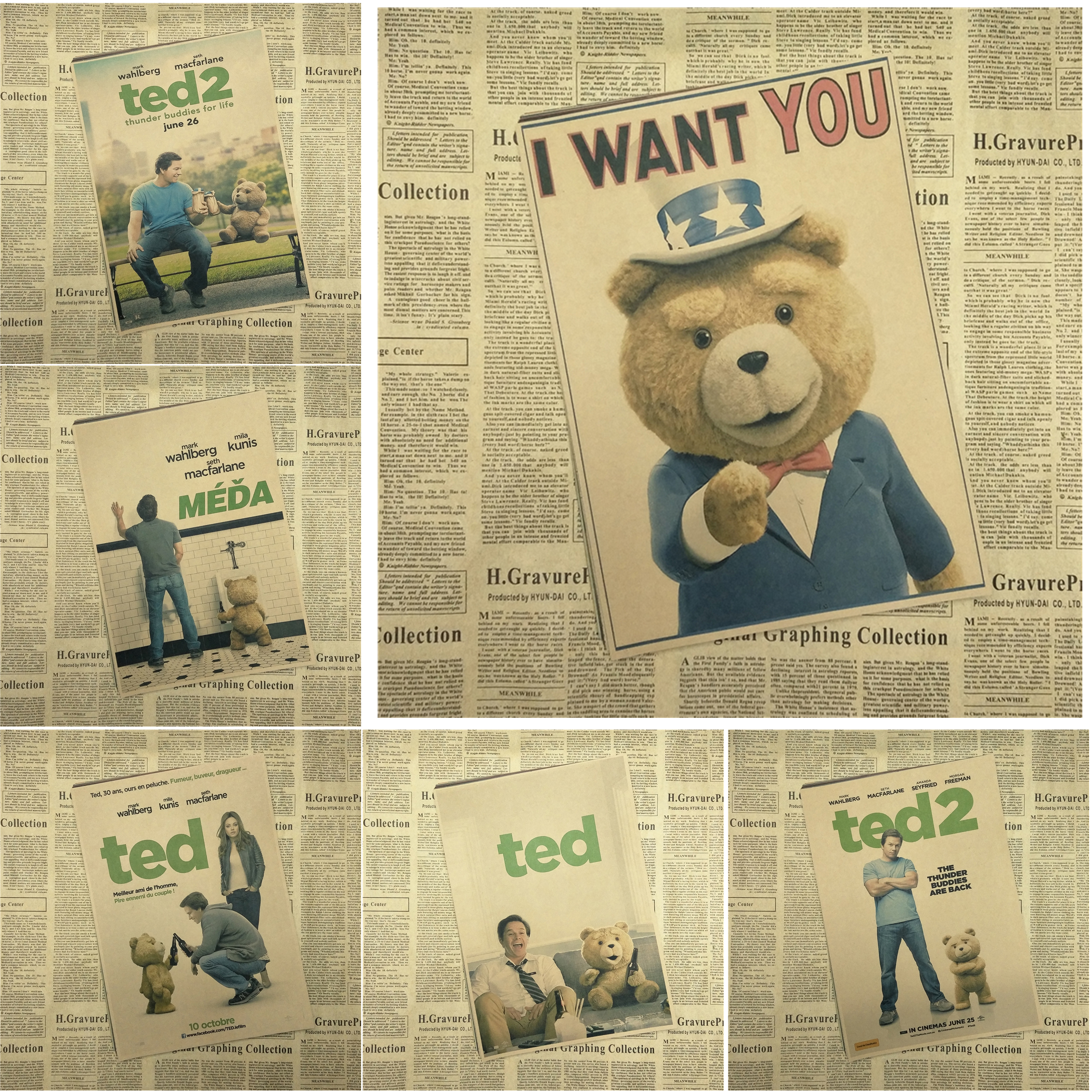 Ted  Classic Movie Kraft Paper Poster Bar Cafe Living Room Dining room