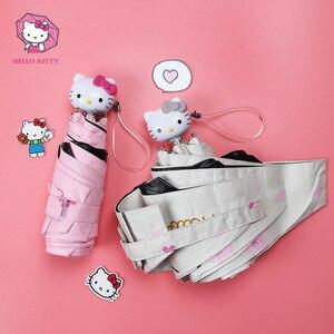 Image 2 - Hello Kitty Cartoon Lovely Girl Womens Umbrella Pocket Mini  Fold Too Parasol Portable Five Folding Regenschirm Sunshade
