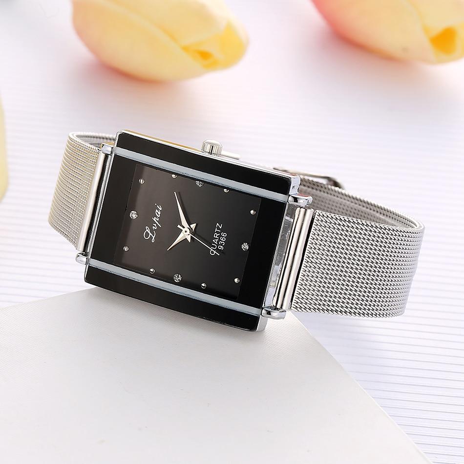 Women Bracelet Watch Silver Square Luxury Crystal Alloy WristWatches Lvpai Brand Women Fashion Men Watch Quartz