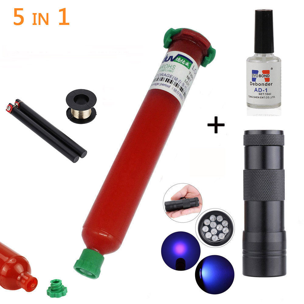 5 in1 TP-2500 LOCA UV glue liquid optical clear adhesive with import Glue Remover +UV curing light touch LCD screen phone repair купить в Москве 2019