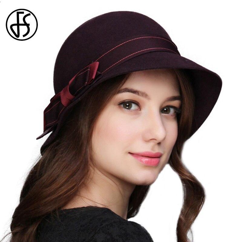 FS Vintage Cloche Hat 100% Wool Felt Fedoras For Elegant ...