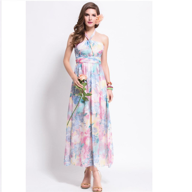 765ccf42d3a7f Hippie Boho Dress 2016 Summer Stlye Bohemian Sexy Halter Women Long Maxi  Dress Chiffon Floral Beach Dress Women Tunic Robe Femme