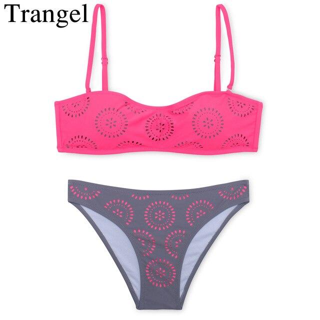 Trangel sexy bikini women swimwear push up bikini set swimming suit bandeau  bikini maillot de bain
