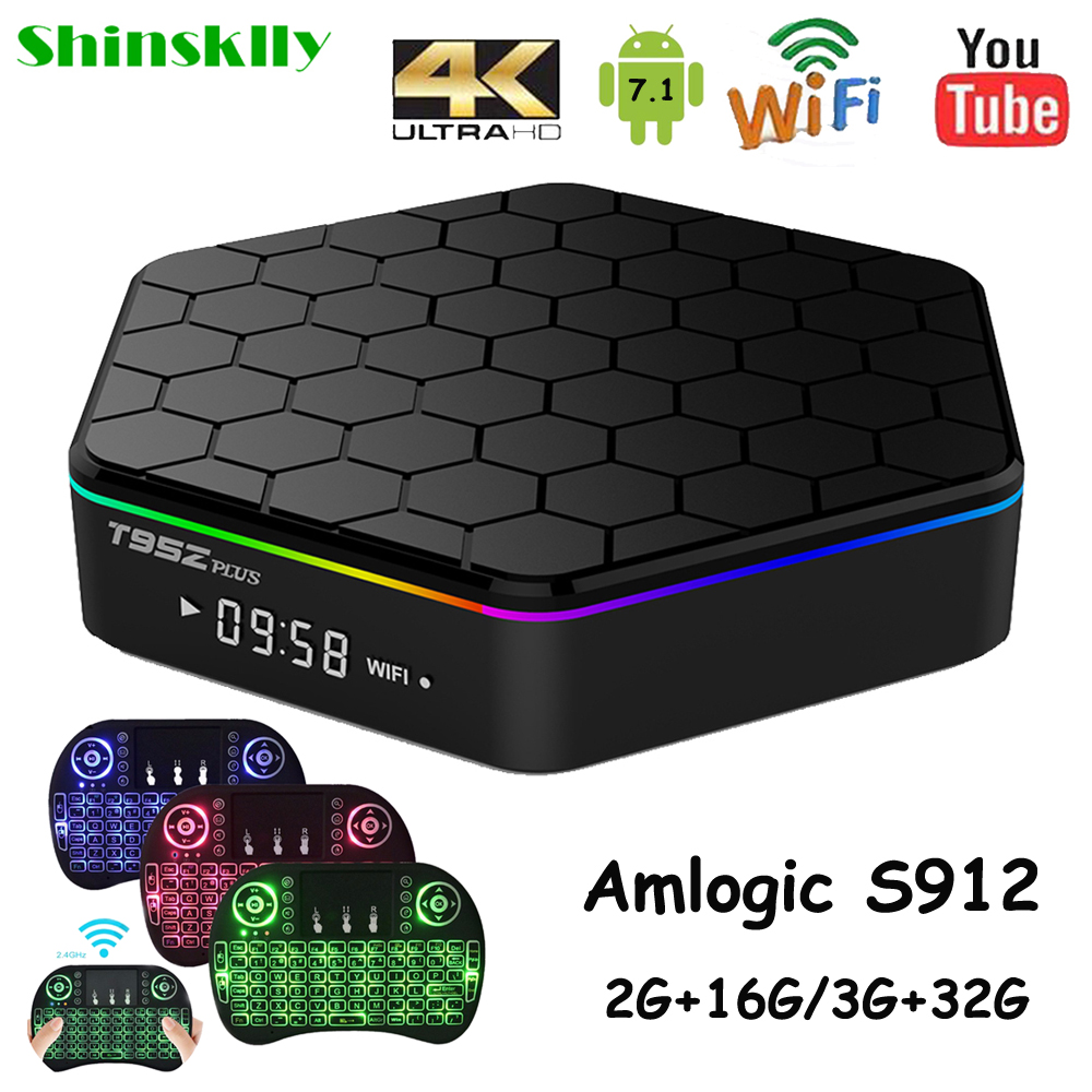 T95Z Plus Android tv box Amlogic S912 Octa Core RAM 2G 3G+16G 32G Android 7.1 smart tv box WIFI 4K IPTV Media player Set top box shinsklly x92 android tv box amlogic s912 octa core ram 2g rom 16g 32g smart tv box android 6 0 wifi 4k 3d player set top box
