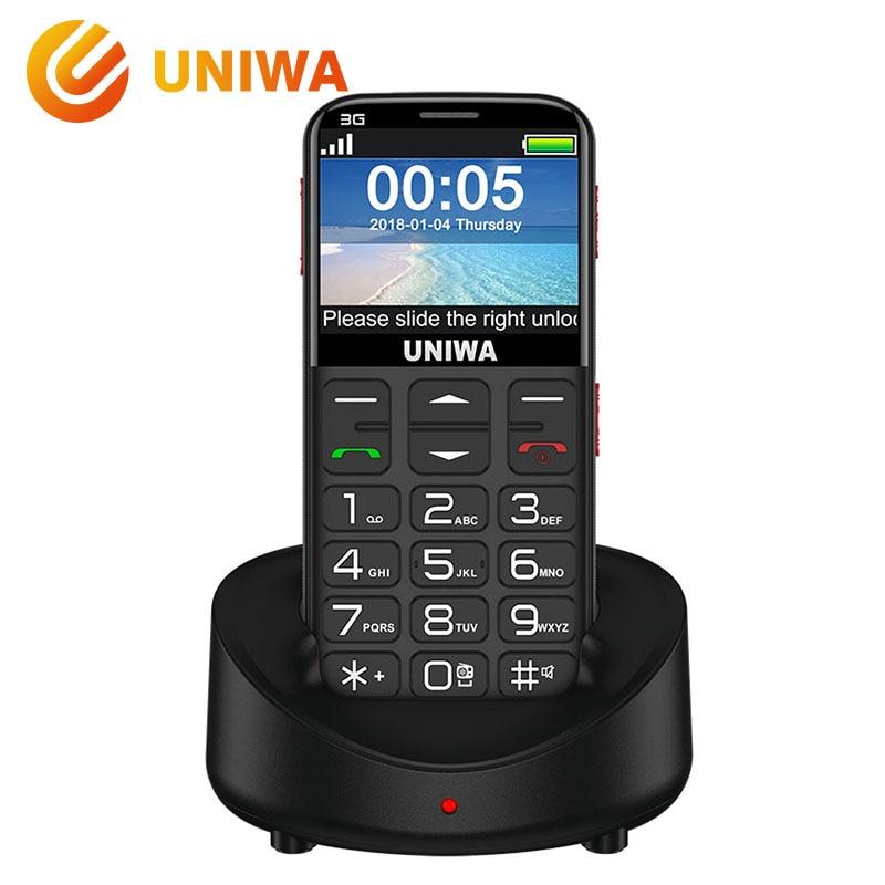Uniwa V808G Vieux Téléphone Mobile Grand SOS Bouton Batterie 2.31 3D Courbe Écran WCDMA Téléphone Portable lampe de Poche Torche Âgées téléphone