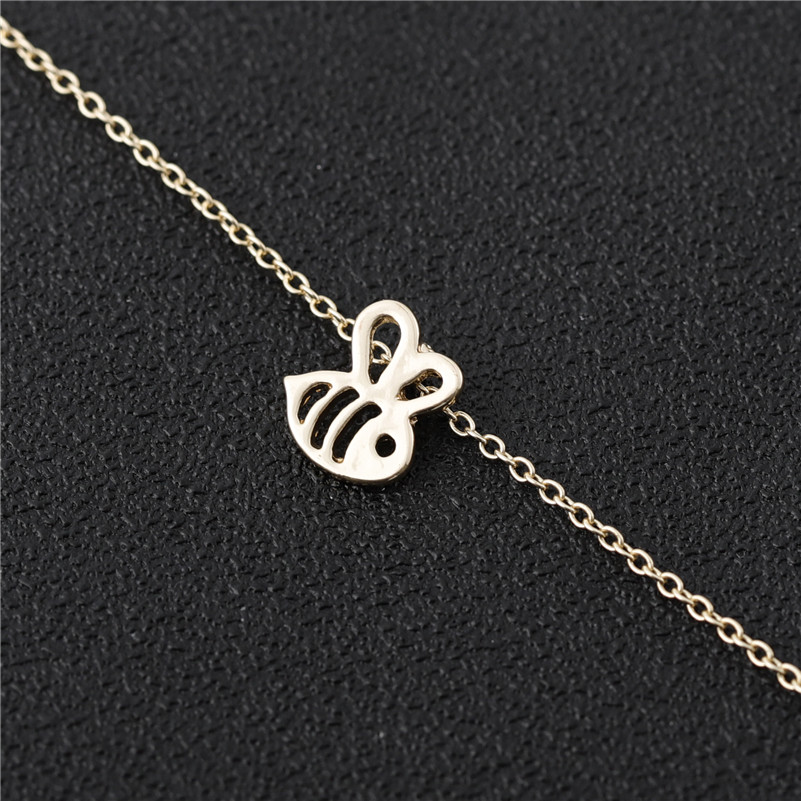 Small Honey Bee Bracelet Queen Bumble Bee Bumblebee Insect Flying Bird Animal Honeycomb Beehive Wasp Chain Bracelets For Women