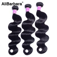 AliBarbara Hair Brazilian Body Wave Hair Human Hair Weave Bundles Non Remy Hair Extension 1B 1or 3Bundles Fast Delivery