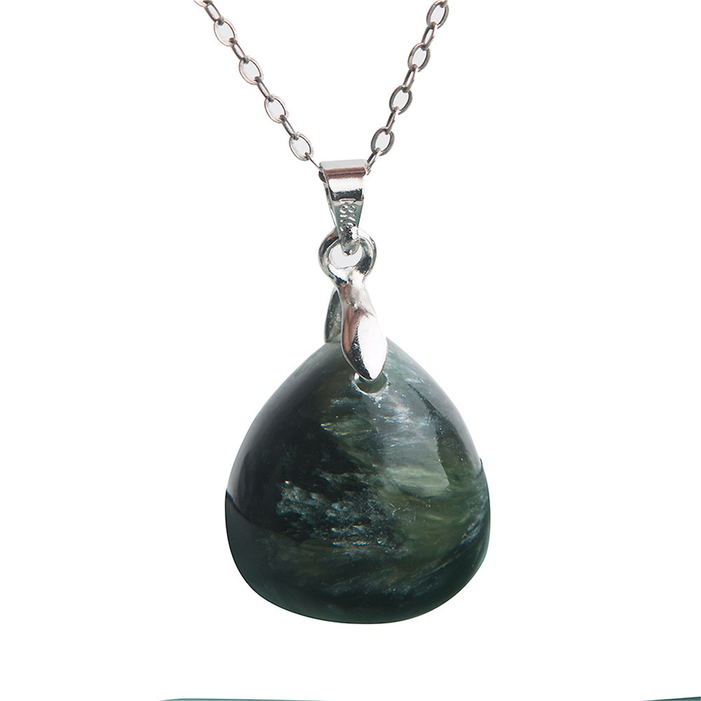 Natural Stone Quartz Crystal Pendants Necklaces for Women Green Seraphinite Gems Jewelry Pendant