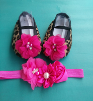 Leopard Baby Brand Shoes Headband Set Cheetah Print Baby Ballerina Baby Booties Girl Shoes First