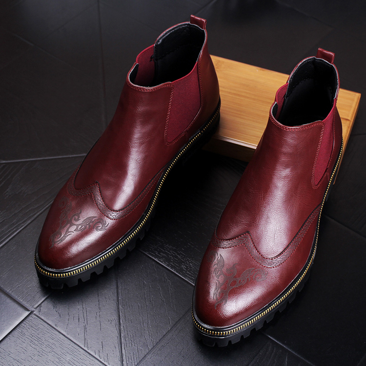 Sapato Bullock Da Brogue Plataforma Genuíno Chelsea Italiano Homens Botas Tendência Do Tornozelo Forma Martin Dos Design Sapatos Zapatos Couro Esculpido qx7wCP1Pt