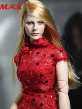 лучшая цена 1/6 scale accessories chloe Moretz female woman girl young lady head sculpt blond hair KM13-1 for 12'' action figure body