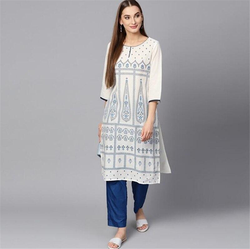 India Fashion Kurtas Woman Ethnic Styles Print Set Cotton Dress Three Quarter Sleeve Costume Elegent Lady Spring Summer Top