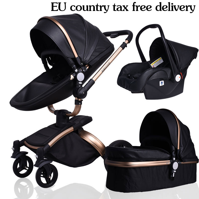 Free Ship! free gifts Brand baby stroller 3pcs 3 in 1 baby stroller Leather Pram Eu Car Seat Bassinet newborn pram gift babyfond 2018 poussette baby free ship eu big brand twins baby stroller folding light double pram two seat 0 4 years use free gifts