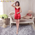 Top Pant Two Piece Set Nightdress Women Solid Color Strap V-Neck Above Knee Nightgowns Sleepshirts Lace Nightgown Sleepwear