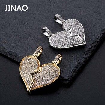 JINAO الأزياء كسر القلب مثلج خارج سلسلة قلادة قلادة بيان الذهب اللون مكعب عقد من حجر الياقوت الهيب هوب الرجال المجوهرات هدية