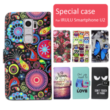 Fashion cartoon printed flip wallet leather case for IRULU Smartphone U2 with Card Slot phone bag book case,free gift