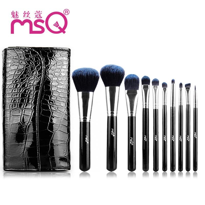 Fashion Portable Makeup Brushes 10Pcs/Set 2017 Lady Mini Pro Synthetic Hair Face Powder Eyeshadow Blush Brushes Wood Handle Kits