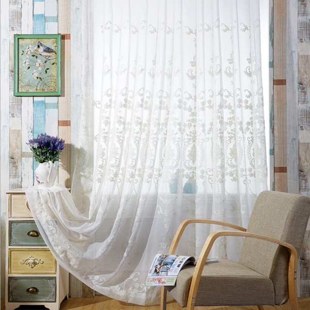 tulle curtains luxury embroidered white sheer curtain voile panel living room window treatment balcony transparent s