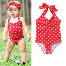 Summer Newborn Baby Girls Polka Dot Red Cute Swimsuit Toddler Swimwear Swimming Halter  Bikini