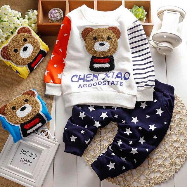 2016 Осень зима детские наборы мультфильм Панда бархат набор twinset с длинным рукавом балахон + брюки детская одежда набор мальчиков и девочек одежда