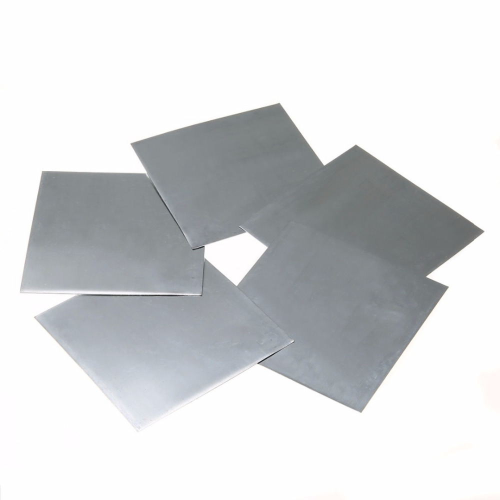 5pcs Bluish-White Metal Zinc Plate High Purity Pure Zinc Sheet Plate 140x140x0.2mm For Science Lab