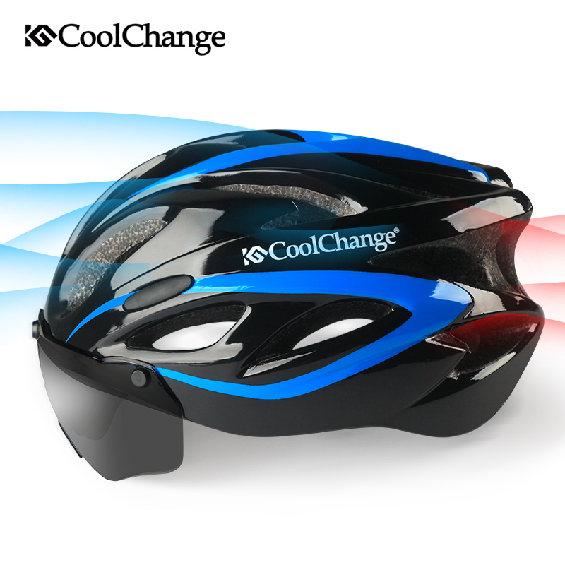 CoolChange Bicycle Helmet EPS Insect Net Road MTB Bike Windproof Lenses Integrally-molded Helmet Cycling Casco Ciclismo 2017 universal bike bicycle motorcycle helmet mount accessories