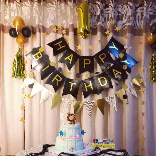 1pc Hy Birthday Banner Black Paper Gold Garland Children S Decor Flag Party Decorations