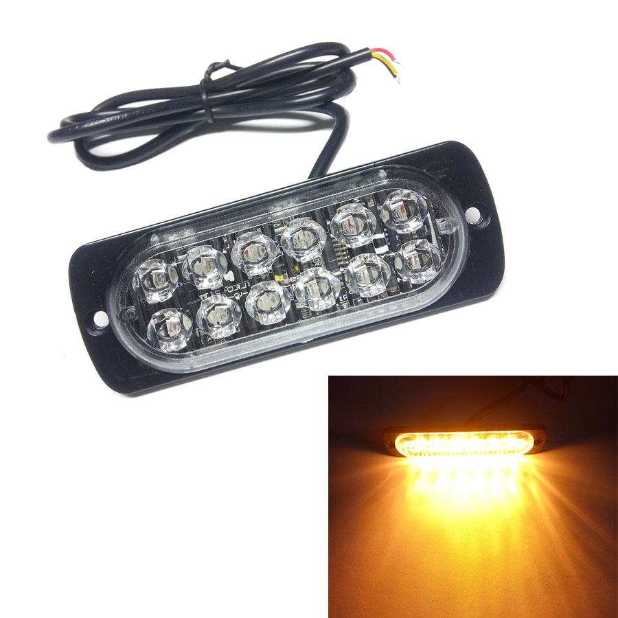 Ultra-thin High Power 12W Waterproof 12V-24V 12 LED Car Truck Emergency Side Strobe Warning Flashing Light White Red Amber New high quality waterproof 12v 120ma safely security alarm strobe signal safety warning blue red orange flashing led light