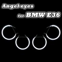 4*131mm CCFL Marker Angel Eyes DRL Halo Rings Kit For BMW 3 Series E36 E38 E39 E46 Projector Head Lamp White