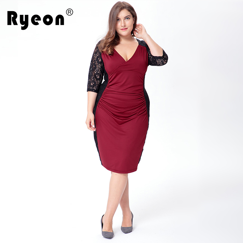 Ryeon Big Sizes Dress Women Black Red Lace Dress Sexy V Neck Tunic Ukraine  Midi Retro 6xl Plus Size Women Office Dress Clothing-in Dresses from Women s  ... a5ed2f5d5711